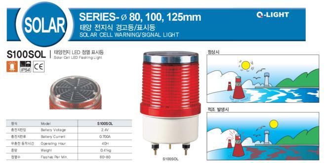 Đèn báo không, báo hiệu đường thủy Q-Light Nhấp nháy Φ100 bóng LED S100SOL, Năng lượng mặt trời, 40h