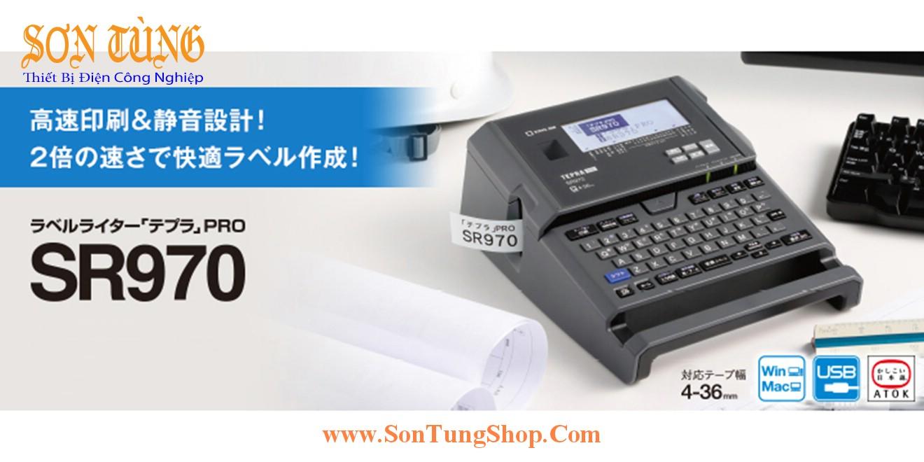 Máy in nhãn đa lớp bàn phím Qwerty Tepra SR970, 4~36mm, Kết nối Win, Mac, USB