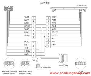 Sơ đồ đấu dây cho Đèn - Bộ khuếch đại - Loa còi hú Qlight SAMP-100