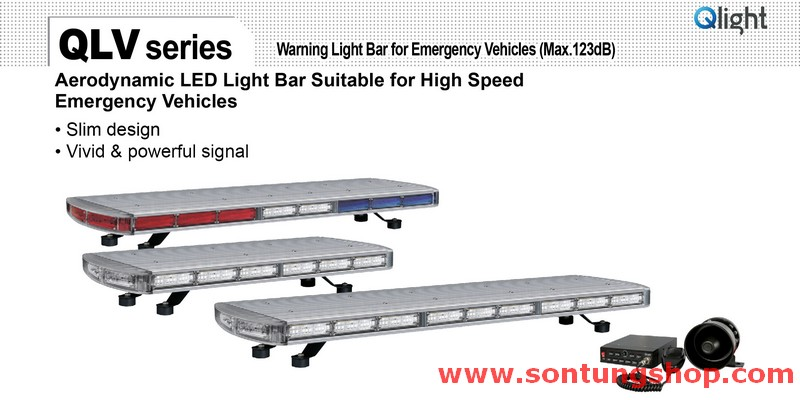 QLV-12-RB Đèn hộp dài xe ưu tiên Qlight 1250mm, Bóng LED, Vỏ màu, Nhấp nháy, IP56