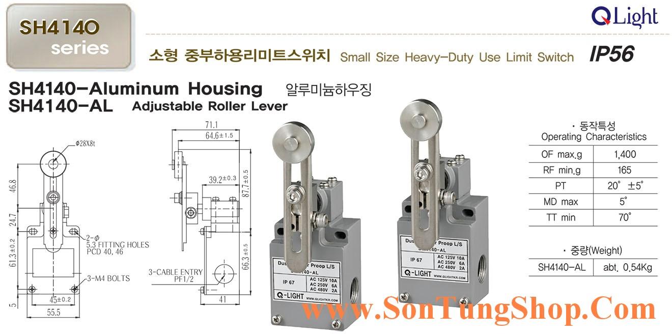 Công tắc hành trình công nghiệp loại nhỏ QLight SH4140-AL, IP56, Dạng Con lăn điều chỉnh