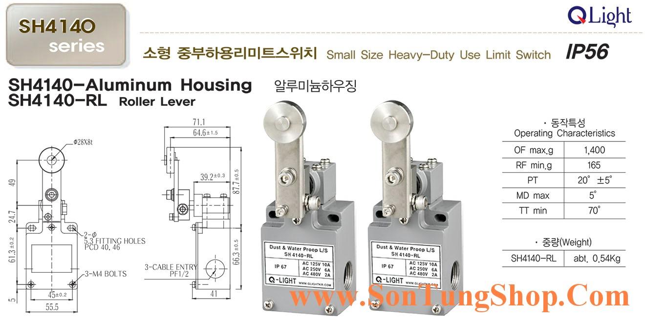 Công tắc hành trình công nghiệp loại nhỏ QLight SH4140-RL, IP56, Dạng Con lăn