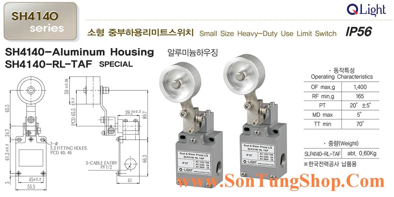 Công tắc hành trình công nghiệp loại nhỏ QLight SLP4140-RL-TAF, IP56, Dạng Con lăn đặc biệt