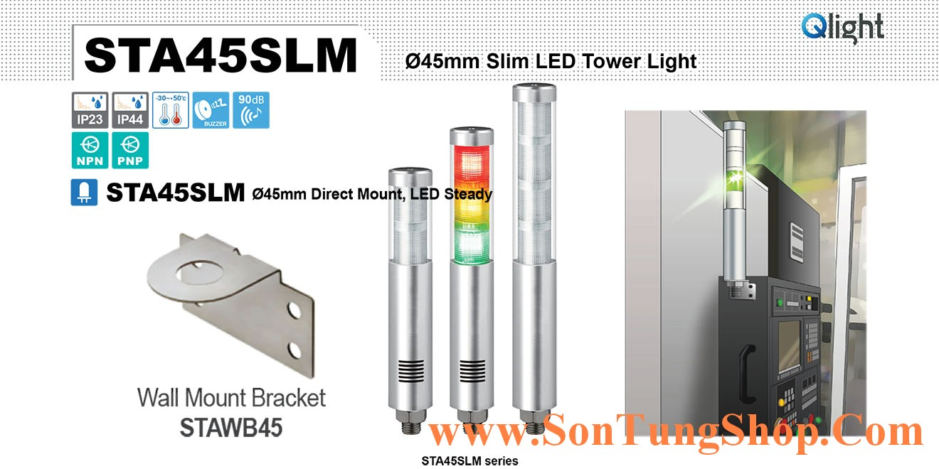 STA45SLM-2-24-RG Đèn tháp Qlight Φ45 Bóng LED 2 tầng IP44