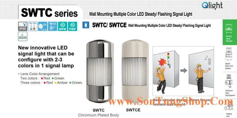 Đèn báo hiệu đa màu Qlight Sáng Φ90 bóng LED, 2~3 màu, hình Bán nguyệt SWTC