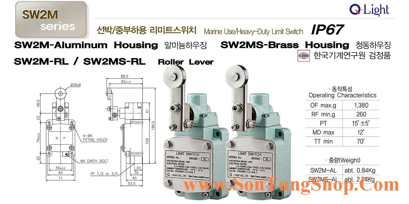 Limit switch Qlight Marine SW2MS-RL Chống nước, dầu, IP67, Dạng Con Lăn