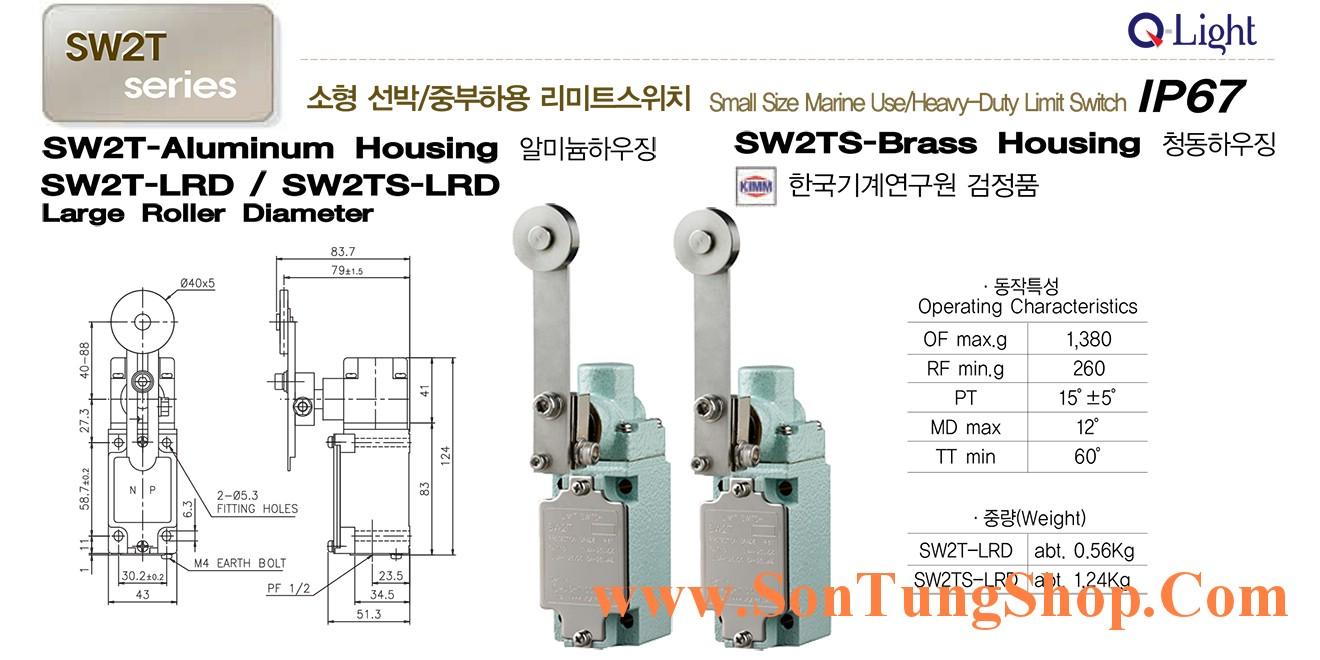 Limit switch Qlight Marine nhỏ SW2TS-LRL Chống nước, dầu, IP67, Dạng Con Lăn Lớn