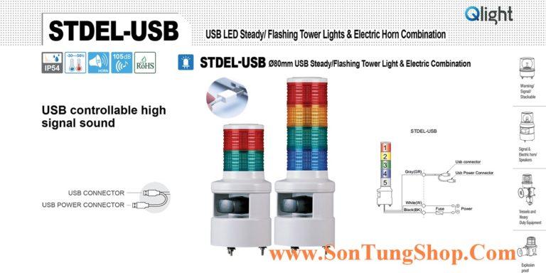 STDEL-USB-WS-3-220-RAG Đèn tầng USB Qlight Φ80 Bóng LED 3 tầng Còi 5 âm báo 105dB IP54