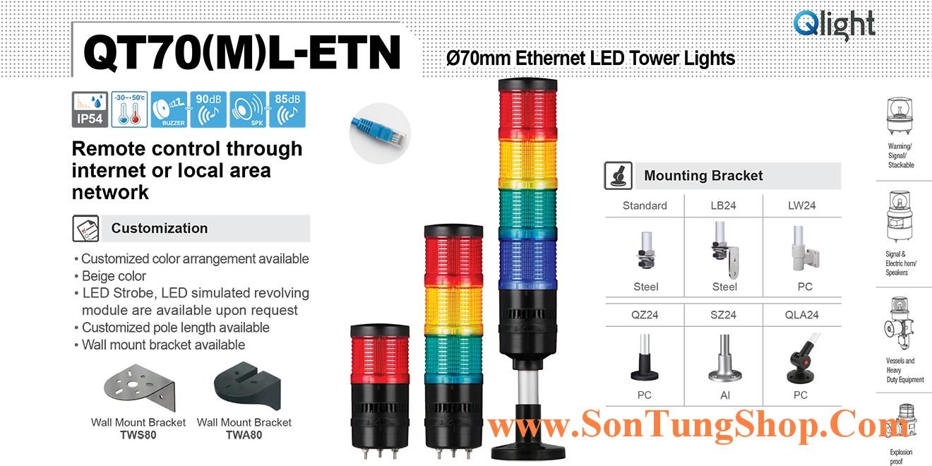 QT70L-ETN-WP-2-24-RB-LW24 Đèn tầng USB Qlight Φ70 Bóng LED 2 tầng Còi 5 âm báo 85dB IP54