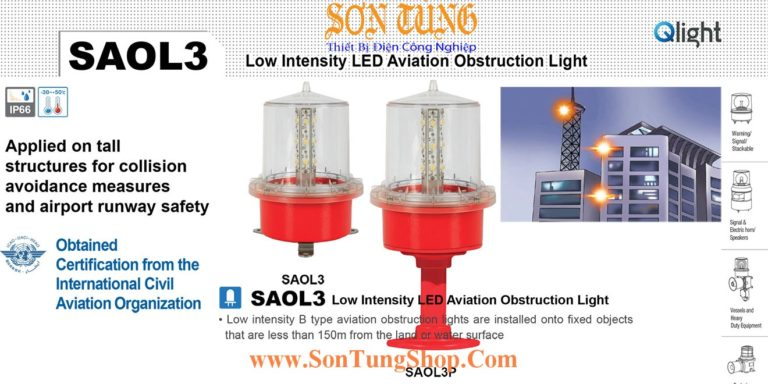 SAOLF3P-220-R-S Đèn báo không Qlight Φ157 Bóng LED Nhấp nháy IP66, ICAO, 220VAC