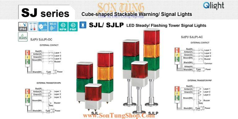 SJLP-BZ-3-24-RAG-RAG Đèn tháp 3 tầng Qlight Vuông 95mm Bóng LED Còi Buzzer 90dB 24VDC IP44