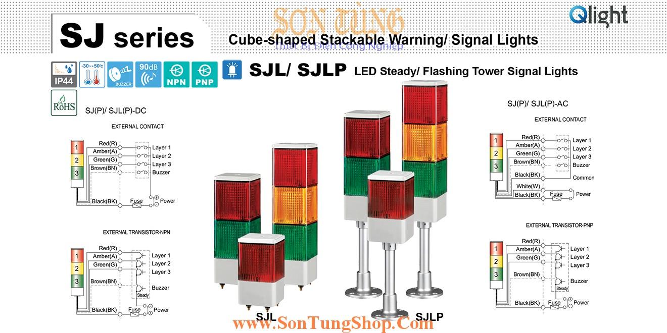 SJLP-BZ-220-RAG-RAG Đèn tháp 3 tầng Qlight Vuông 95mm Bóng LED Còi Buzzer 90dB 220VAC IP44