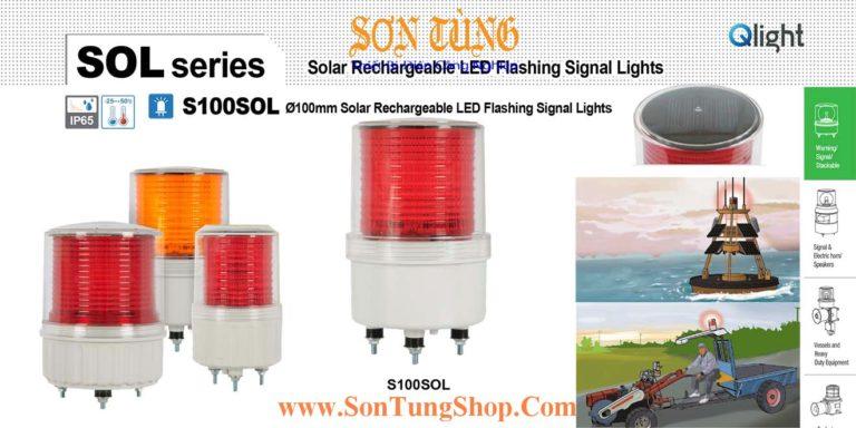 S100SOL IP65 Đèn Báo Không, Báo Hiệu Đường Thủy QLight Φ100, Năng Lượng Mặt Trời, 40h