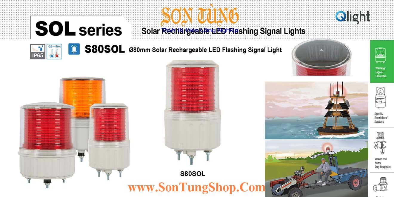 S80SOL IP65 Đèn Báo Không, Báo Hiệu Đường Thủy QLight Φ80, Năng Lượng Mặt Trời, 30h
