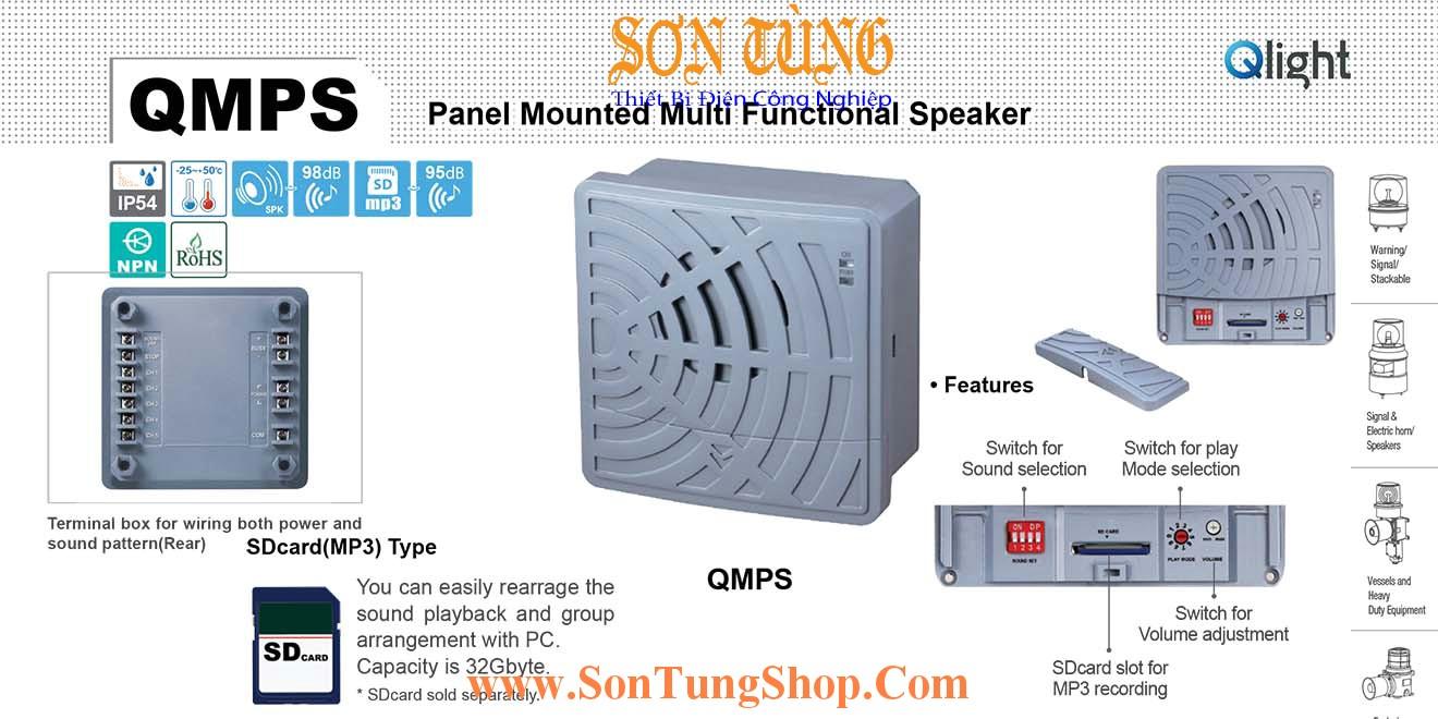 QMPS Loa Còi Báo Đa Chức Năng Ghi Am MP3 Qlight 98dB, IP54