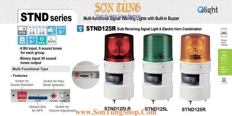 STND125R-12-R Đèn quay báo âm MP3 Qlight Φ125 Bóng Sợi đốt 12 VDC IP54