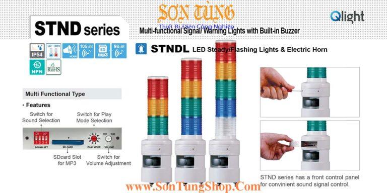 STNDL-2-220-RG Đèn tháp 30 kênh ghi âm MP3 Qlight Φ80 Bóng LED 2 tầng, Sáng liên tục IP54