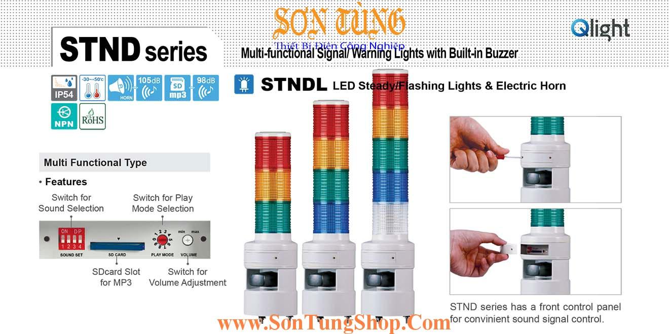 STNDLF-1-220-R Đèn tháp 30 kênh ghi âm MP3 Qlight Φ80 Bóng LED 1 tầng, Nhấp nháy IP54