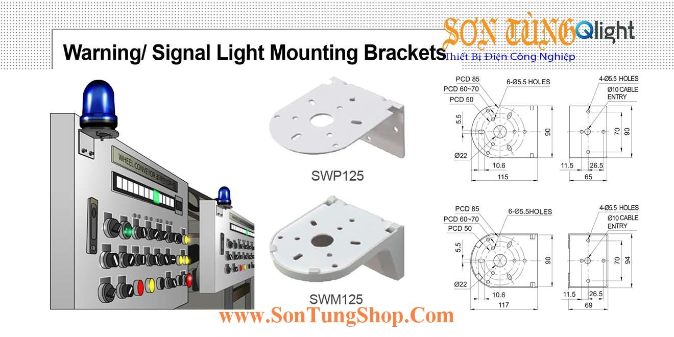 SWP125, SWM125 Gá gắn tường Sử dụng cho Đèn báo Qlight
