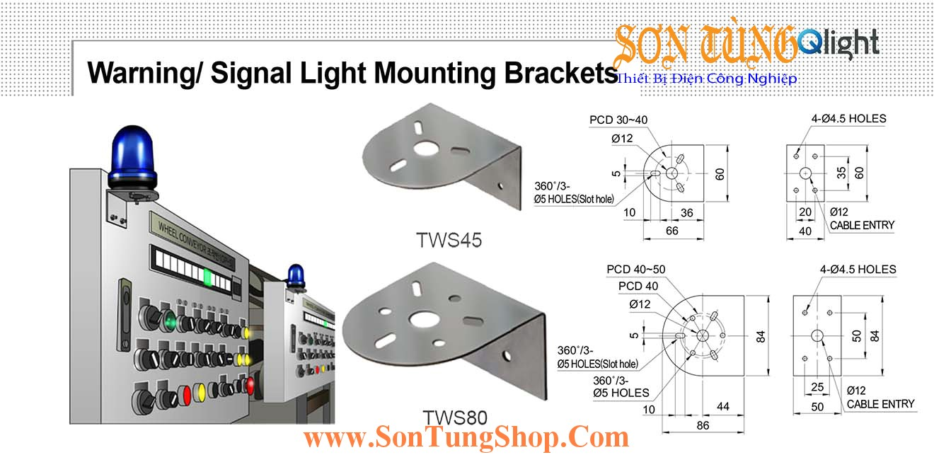 TWS45, TWS80 Gá gắn tường Sử dụng cho Đèn báo Qlight