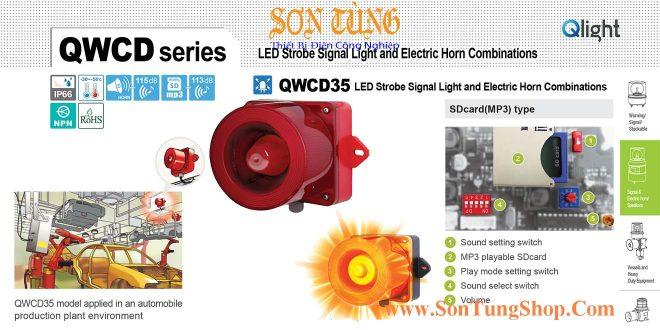 QWCD35SD-110/220-R-LC Đèn báo có Loa mp3 Qlight 31 âm báo nhạc 113dB IP66, CE, 110VAC/220VAC
