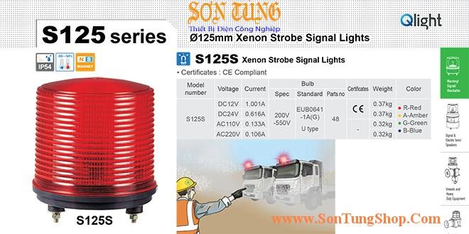 S125S-12-R Đèn cảnh báo Qlight Φ125 Bóng Xenon 12VDC IP54