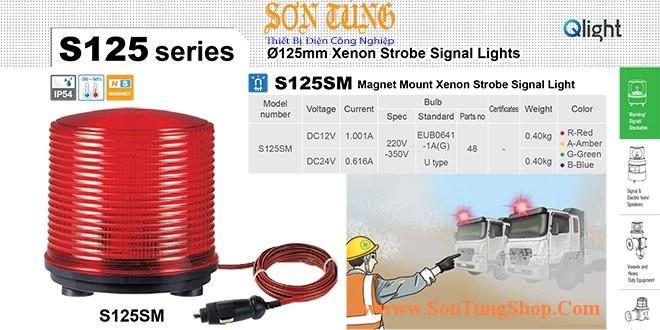S125SM-24-R Đèn cảnh báo nam châm hút dính, tẩu nguồn Qlight Φ125 Bóng Xenon 24VDC IP54