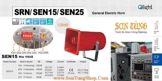 SEN15-WP-110-LC Loa còi cảnh báo Qlight 5 âm báo động 108dB IP55, CE, 110VAC