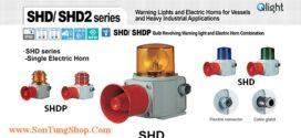 SHDP-WM-220-A-LC Đèn quay có loa Qlight Φ135 Bóng Sợi đốt 5 âm melody 118dB IP66, KIM, ABS
