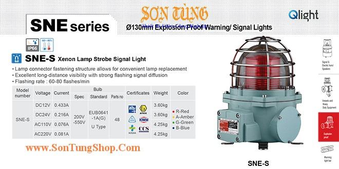 SNE-S-220-A Đèn phòng nổ báo hiệu Qlight Φ152 Bóng Xenon Nhấp nháy IP66, IECEx, ATEX, NEPSI, KIMM